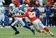 Dec 22, 2013; Kansas City, MO, USA; Indianapolis Colts wide receiver Griff Whalen (17) runs the ball as Kansas City Chiefs free safety Kendrick Lewis (23) attempts the tackle during the second half at Arrowhead Stadium. The Colts won 23-7. Mandatory Credit: Denny Medley-USA TODAY Sports