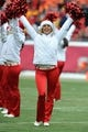 Dec 22, 2013; Kansas City, MO, USA; Kansas City Chiefs cheerleaders perform for the crowd before the game against the Indianapolis Colts at Arrowhead Stadium. The Colts won 23-7. Mandatory Credit: Denny Medley-USA TODAY Sports