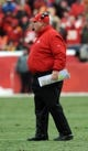 Dec 22, 2013; Kansas City, MO, USA; Kansas City Chiefs head coach Andy Reid reacts to play on field during the second half of the game against the Indianapolis Colts at Arrowhead Stadium. The Colts won 23-7. Mandatory Credit: Denny Medley-USA TODAY Sports