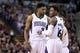 Jan 7, 2014; Sacramento, CA, USA; Sacramento Kings small forward Rudy Gay (8) speaks with shooting guard Ben McLemore (16) at the line against the Portland Trail Blazers during the fourth quarter at Sleep Train Arena. The Sacramento Kings defeated the Portland Trail Blazers 123-119. Mandatory Credit: Kelley L Cox-USA TODAY Sports
