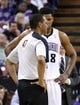Jan 7, 2014; Sacramento, CA, USA; Sacramento Kings small forward Rudy Gay (8) looks at referee Benny Adams (47) after being called for his sixth foul against the Portland Trail Blazers during the fourth quarter at Sleep Train Arena. The Sacramento Kings defeated the Portland Trail Blazers 123-119. Mandatory Credit: Kelley L Cox-USA TODAY Sports