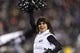 Jan 4, 2014; Philadelphia, PA, USA; A Philadelphia Eagles cheerleader performs during the third quarter against the New Orleans Saints during the 2013 NFC wild card playoff football game at Lincoln Financial Field. The Saints defeated the Eagles 26-24. Mandatory Credit: Howard Smith-USA TODAY Sports
