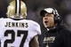 Jan 4, 2014; Philadelphia, PA, USA; New Orleans Saints head coach Sean Payton talks with safety Malcolm Jenkins (27) during the second quarter against the Philadelphia Eagles during the 2013 NFC wild card playoff football game at Lincoln Financial Field. The Saints defeated the Eagles 26-24. Mandatory Credit: Howard Smith-USA TODAY Sports