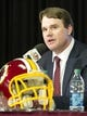 Jan 9, 2014; Ashburn, VA, USA; Washington Redskins head coach Jay Gruden is introduced during a press conferences at Redskins Park Team Auditorium. Mandatory Credit: Brad Mills-USA TODAY Sports