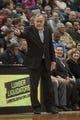 Jan 10, 2014; Minneapolis, MN, USA; Minnesota Timberwolves head coach Rick Adelman in the second quarter against the Charlotte Bobcats at Target Center. Minnesota wins 119-92. Mandatory Credit: Brad Rempel-USA TODAY Sports