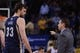 November 20, 2013; Oakland, CA, USA; Memphis Grizzlies head coach David Joerger (right) instructs center Marc Gasol (33) during the fourth quarter against the Golden State Warriors at Oracle Arena. The Grizzlies defeated the Warriors 88-81 in overtime. Mandatory Credit: Kyle Terada-USA TODAY Sports