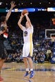 November 23, 2013; Oakland, CA, USA; Golden State Warriors power forward David Lee (10) shoots the basketball during the fourth quarter against the Portland Trail Blazers at Oracle Arena. The Trail Blazers defeated the Warriors 113-101. Mandatory Credit: Kyle Terada-USA TODAY Sports