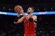 December 3, 2013; Oakland, CA, USA; Toronto Raptors center Jonas Valanciunas (17) shoots the basketball during the first quarter against the Golden State Warriors at Oracle Arena. The Warriors defeated the Raptors 112-103. Mandatory Credit: Kyle Terada-USA TODAY Sports
