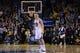 December 3, 2013; Oakland, CA, USA; Golden State Warriors shooting guard Klay Thompson (11) celebrates during the fourth quarter against the Toronto Raptors at Oracle Arena. The Warriors defeated the Raptors 112-103. Mandatory Credit: Kyle Terada-USA TODAY Sports