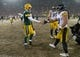 Dec 22, 2013; Green Bay, WI, USA; Green Bay Packers quarterback Matt Flynn (10) is greeted by Pittsburgh Steelers safety Troy Polamalu (43) following the game at Lambeau Field.  Pittsburgh won 38-31.  Mandatory Credit: Jeff Hanisch-USA TODAY Sports