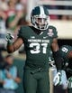 Jan 1, 2014; Pasadena, CA, USA; Michigan State Spartans cornerack Darqueze Dennard (31) reacts during the 100th Rose Bowl against the Stanford Cardinal. Mandatory Credit: Kirby Lee-USA TODAY Sports