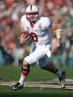 Jan 1, 2014; Pasadena, CA, USA; Stanford Cardinal quarterback Kevin Hogan (8) carries the ball against the Michigan State Spartans in the 100th Rose Bowl. Mandatory Credit: Kirby Lee-USA TODAY Sports