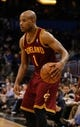 Dec 13, 2013; Orlando, FL, USA; Cleveland Cavaliers point guard Jarrett Jack (1) drives to the basket against the Orlando Magic during the second quarter at Amway Center. Mandatory Credit: Kim Klement-USA TODAY Sports