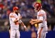 Jan 4, 2014; Indianapolis, IN, USA; Kansas City Chiefs quarterback Chase Daniel (10) and quarterback Alex Smith (11) during the 2013 AFC wild card playoff football game against the Indianapolis Colts at Lucas Oil Stadium. Mandatory Credit: Andrew Weber-USA TODAY Sports