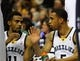 Jan 7, 2014; Memphis, TN, USA; Memphis Grizzlies point guard Mike Conley (11) and Memphis Grizzlies guard Courtney Lee (5) talk during a timeout against the San Antonio Spurs at FedExForum. the San Antonio Spurs beat the Memphis Grizzlies 110 - 108 Mandatory Credit: Justin Ford-USA TODAY Sports