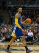 Jan 7, 2014; Milwaukee, WI, USA; Golden State Warriors guard Kent Bazemore (20) during the game against the Milwaukee Bucks at BMO Harris Bradley Center.  Golden State won 101-80.  Mandatory Credit: Jeff Hanisch-USA TODAY Sports