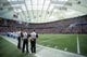 Dec 29, 2013; Minneapolis, MN, USA; Referees, players and fans stand for the national anthem before the game with the Detroit Lions and the Minnesota Vikings at the last game at Mall of America Field at H.H.H. Metrodome. The Vikings win 14-13. Mandatory Credit: Bruce Kluckhohn-USA TODAY Sports