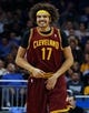 Dec 13, 2013; Orlando, FL, USA; Cleveland Cavaliers center Anderson Varejao (17) reacts against the Orlando Magic during the first quarter at Amway Center. Mandatory Credit: Kim Klement-USA TODAY Sports