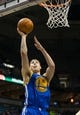 Jan 7, 2014; Milwaukee, WI, USA; Golden State Warriors guard Klay Thompson (11) during the game against the Milwaukee Bucks at BMO Harris Bradley Center.  Golden State won 101-80.  Mandatory Credit: Jeff Hanisch-USA TODAY Sports