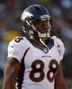 Dec 29, 2013; Oakland, CA, USA; Denver Broncos receiver Demaryius Thomas (88) during the game against the Oakland Raiders at O.co Coliseum. The Broncos defeated the Raiders 34-14. Mandatory Credit: Kirby Lee-USA TODAY Sports
