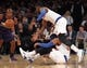 Jan 13, 2014; New York, NY, USA; New York Knicks shooting guard Toure' Murry (23) loses the ball as he collides with shooting guard Tim Hardaway Jr. (5) during the second quarter of a game against the Phoenix Suns at Madison Square Garden. Mandatory Credit: Brad Penner-USA TODAY Sports