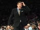 Jan 13, 2014; New York, NY, USA; Phoenix Suns head coach Jeff Hornacek reacts after Phoenix Suns power forward Markieff Morris (not pictured) is ejected during the second quarter of a game against the New York Knicks at Madison Square Garden. Mandatory Credit: Brad Penner-USA TODAY Sports