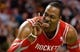 Jan 13, 2014; Boston, MA, USA; Houston Rockets power forward Dwight Howard (12) gestures at a fan during the second half of Houston's 104-92 win over the Boston Celtics at TD Garden. Mandatory Credit: Winslow Townson-USA TODAY Sports