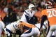 Dec 12, 2013; Denver, CO, USA; San Diego Chargers quarterback Philip Rivers (17) calls out in the second quarter against the Denver Broncos at Sports Authority Field at Mile High. Mandatory Credit: Ron Chenoy-USA TODAY Sports