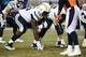 Dec 12, 2013; Denver, CO, USA; San Diego Chargers offensive tackle D.J. Fluker (76) at the line of scrimmage in the second quarter against the Denver Broncos at Sports Authority Field at Mile High. Mandatory Credit: Ron Chenoy-USA TODAY Sports