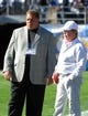 Dec 22, 2013; San Diego, CA, USA; Oakland Raiders owner Reggie McKenzie (left) and owner Mark Davis before the game against the San Diego Chargers at Qualcomm Stadium. The Chargers won 26-13. Mandatory Credit: Kirby Lee-USA TODAY Sports