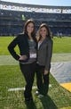 Dec 22, 2013; San Diego, CA, USA; Oakland Raiders staff members Rebecca Corman (left) and Erin Exum pose before the game against the San Diego Chargers at Qualcomm Stadium. Mandatory Credit: Kirby Lee-USA TODAY Sports