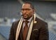 Dec 2, 2013; Seattle, WA, USA; ESPN broadcaster Ray Lewis on the Monday Night Countdown set before the NFL game between the New Orleans Saints and the Seattle Seahawks at CenturyLink Field. Mandatory Credit: Kirby Lee-USA TODAY Sports