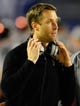 Dec 30, 2013; San Diego, CA, USA; Texas Tech Red Raiders head coach Kliff Kingsbury after talking with his team during the second half against the Arizona State Sun Devils in the Holiday Bowl at Qualcomm Stadium. Mandatory Credit: Christopher Hanewinckel-USA TODAY Sports