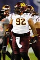 Dec 30, 2013; San Diego, CA, USA; Arizona State Sun Devils defensive tackle Jaxon Hood (92) after a tackle during the first half against the Texas Tech Red Raiders during the first half in the Holiday Bowl at Qualcomm Stadium. Mandatory Credit: Christopher Hanewinckel-USA TODAY Sports
