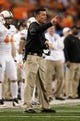 Jan 3, 2014; Arlington, TX, USA; Oklahoma State Cowboys head coach Mike Gundy on the field during the game against the Missouri Tigers at the 2014 Cotton Bowl at AT&T Stadium. Missouri beat Oklahoma State 41-31. Mandatory Credit: Tim Heitman-USA TODAY Sports