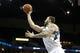 Jan 8, 2014; Minneapolis, MN, USA; Minnesota Timberwolves center Nikola Pekovic (14) against the Phoenix Suns at Target Center. The Suns defeated the Timberwolves 104-103. Mandatory Credit: Brace Hemmelgarn-USA TODAY Sports
