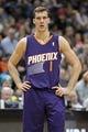 Jan 8, 2014; Minneapolis, MN, USA; Phoenix Suns guard Goran Dragic (1) against the Minnesota Timberwolves at Target Center. The Suns defeated the Timberwolves 104-103. Mandatory Credit: Brace Hemmelgarn-USA TODAY Sports