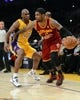 Jan 14, 2014; Los Angeles, CA, USA; Los Angeles Lakers shooting guard Jodie Meeks (20) guards Cleveland Cavaliers point guard Kyrie Irving (2) in the first half of the game at Staples Center. Mandatory Credit: Jayne Kamin-Oncea-USA TODAY Sports
