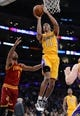 Jan 14, 2014; Los Angeles, CA, USA; Cleveland Cavaliers point guard Jarrett Jack (1) guards Los Angeles Lakers shooting guard Wesley Johnson (11) in the second half of the game at Staples Center. Cleveland Cavaliers won 120-118. Mandatory Credit: Jayne Kamin-Oncea-USA TODAY Sports