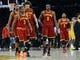 Jan 14, 2014; Los Angeles, CA, USA; Cleveland Cavaliers shooting guard Dion Waiters (3), center Anderson Varejao (17),  small forward Luol Deng (9) and point guard Kyrie Irving (2) walk off the court in the fourth quarter of the game against the Los Angeles Lakers at Staples Center. Cleveland Cavaliers won 120-118. Mandatory Credit: Jayne Kamin-Oncea-USA TODAY Sports