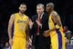 Jan 14, 2014; Los Angeles, CA, USA; Los Angeles Lakers head coach Mike D'Antoni talks to point guard Kendall Marshall (12) and shooting guard Jodie Meeks (20) in the second half of the game against the Cleveland Cavaliers at Staples Center. Cleveland Cavaliers won 120-118. Mandatory Credit: Jayne Kamin-Oncea-USA TODAY Sports