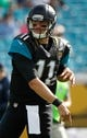 Dec 22, 2013; Jacksonville, FL, USA; Jacksonville Jaguars back Blaine Gabbert (11) against the Tennessee Titans works out prior to the game at EverBank Field. Mandatory Credit: Kim Klement-USA TODAY Sports