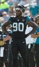 Dec 22, 2013; Jacksonville, FL, USA; Jacksonville Jaguars defensive end Andre Branch (90) during the first half against the Tennessee Titans at EverBank Field. Mandatory Credit: Kim Klement-USA TODAY Sports