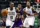 Jan 17, 2014; Boston, MA, USA; Boston Celtics point guard Rajon Rondo (9) works the ball against Los Angeles Lakers shooting guard Jodie Meeks (20) in the second half at TD Garden. The Los Angeles Lakers defeated the Celtics 107-104. Mandatory Credit: David Butler II-USA TODAY Sports