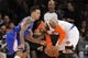Jan 17, 2014; New York, NY, USA; Los Angeles Clippers small forward Matt Barnes (22) guards New York Knicks small forward Carmelo Anthony (7) during the first half at Madison Square Garden. The Los Angeles Clippers won 109-94. Mandatory Credit: Joe Camporeale-USA TODAY Sports