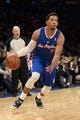 Jan 17, 2014; New York, NY, USA; Los Angeles Clippers point guard Darius Morris (7) dribbles against the New York Knicks during the first half at Madison Square Garden. The Los Angeles Clippers won 109-94. Mandatory Credit: Joe Camporeale-USA TODAY Sports