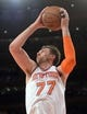 Jan 17, 2014; New York, NY, USA; New York Knicks power forward Andrea Bargnani (77) grabs a rebound against the Los Angeles Clippers during the first half at Madison Square Garden. The Los Angeles Clippers won 109-94. Mandatory Credit: Joe Camporeale-USA TODAY Sports