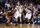 Jan 17, 2014; Boston, MA, USA; Los Angeles Lakers shooting guard Wesley Johnson (11) works the ball against Boston Celtics small forward Jeff Green (8) in the second half at TD Garden. The Los Angeles Lakers defeated the Celtics 107-104. Mandatory Credit: David Butler II-USA TODAY Sports