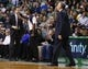 Jan 17, 2014; Boston, MA, USA; Boston Celtics head coach Brad Stevens (left) reacts after a call as they take on the Los Angeles Lakers in the second half at TD Garden. The Los Angeles Lakers defeated the Celtics 107-104. Mandatory Credit: David Butler II-USA TODAY Sports