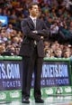 Jan 17, 2014; Boston, MA, USA; Boston Celtics head coach Brad Stevens watches from the sideline as they take on the Los Angeles Lakers in the first half at TD Garden. Lakers won107-104. Mandatory Credit: David Butler II-USA TODAY Sports